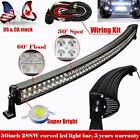 50 inch 288W LED Light Bar Curved Work Spot Flood Combo Offroad SUV CREE Jeep 52