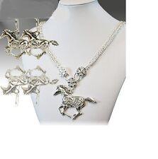 RHINESTONE HORSE WESTERN JEWELRY COWGIRL NECKLACE EARRINGS SET