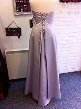 DEBUT DEBENHAMS SILVER GREY CORSET BUSTLE PROM/BRIDESMAID/EVENING DRESS 12/10