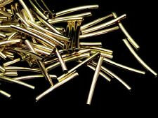 50 Pcs Gold Plated Curve Tube Spacer Beads 15mm x 1.5mm  Jewellery Making B143