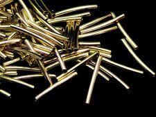 50 pcs plaqué or perles Espaceur Tube Courbe 15mm x 1.5 mm fabrication de bijoux B143