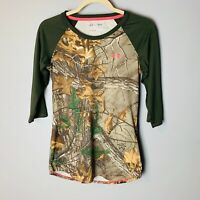 Under Armour Women's Top Size Small Camo Camouflage 3/4 Sleeves Hunting Green