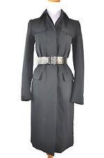 Prada Women's Black Leather Belted Coat Size 38