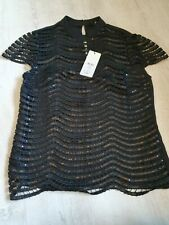 Womens Lipsy london Black Sequin scallop Top Bnwt Rrp £55 Size Uk 6