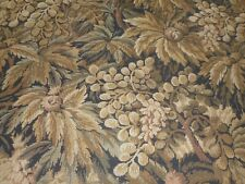Antique French Botanical Floral Jacquard Tapestry Fabric ~ Brown Gray Black