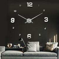 Modern DIY Large Numbers 3D Wall Clock Mirror Sticker House Decoration Silver *