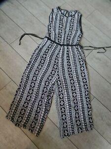 as new TREE OF LIFE jumpsuit pant suit drawstring wide leg crop s/m 12 slit back