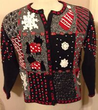 Women's Ugly Winter Holiday Sweater W/ Snowflakes Mittens Scottie Dogs Size Med