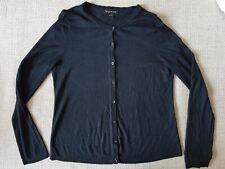August Silk Black Button Up Fine Knit, Silk Blend Cardigan sz XL