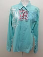 Xios Men's Embroidered Long Sleeve Sky Blue Red White Cotton Casual Shirt Size L