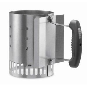 Weber Rapidfire BBQ Chimney Charcoal Starter Aluminized Steel Grill Tool Utensil