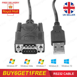 USB 2.0 to Serial RS232 DB9 MALE 9Pin Adapter Converter Cable 340 Windows 7 8 10