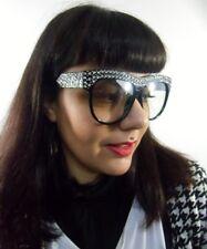 Grosses lunettes noires oversize verres transparents à strass transparents
