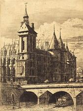 Charles meryon Francesa La Tour de l'Horloge Torre del Reloj Paris Art Print bb5091a