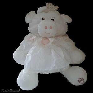 Vintage 1986 Puffalump Fisher Price White Cow Stuffed Plush Lace Heart Dress 18'