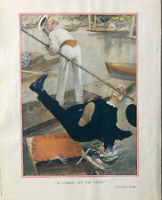Print of a humorous illustration by Lawson Wood: A 'CANNON' OFF THE 'CUSH'. 1918