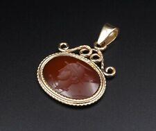 14k Yellow Gold Vintage Carnelian Intaglio Pendant Mercury Hermes PG1005