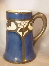 """ANTIQUE LIMOGES P.L. LG MUG STEIN TANKARD ART NOUVEAU BLUE & PINK FLOWERS 5 7/8"""""""
