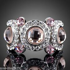 Women Platinum Plated Brown & Pink Swarovski Element Austrian Crystal Eyes Ring