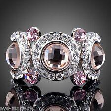 Women Platinum Plated Brown & Pink Swarovski Element Austrian Crystal Eyes Ring
