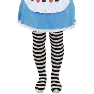CHILDS BLACK AND WHITE STRIPED TIGHTS GIRLS WORLD BOOK DAY ALICE FANCY DRESS