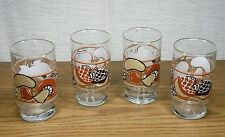 Nancy Lynn Mushrooms Acorns and Daisies Juice Glasses 70's Retro Set of 4