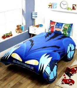 NEW PJ MASKS CATBOY CAR SHAPED SINGLE DUVET QUILT COVER SET BOYS BLUE BEDROOM