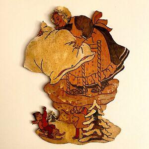 Märchen-Holzbild ALT 1950er 22cm Graupner Graubele Frau Holle Vintage Deko Kind