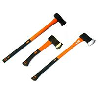 1 Set of 3 Axes= 1 x 5 Lb Log Splitting Axe 1 x 6lb Maul & 1 Hand Axe Fibreglass