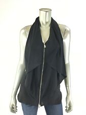 Bebe XS Black Silk Halter Tank Top Draped Front Silver Zipper Blouse NEW NWT