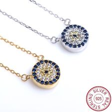 Genuine 925 Sterling Silver Rhodium Plated Round Evil Eye Necklace For Women