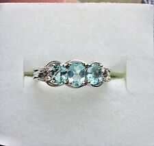 Three-Stone Apatite Ring, 1.05 tcw, six white topaz accents, Size 6.75