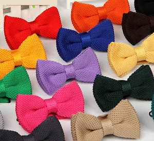 MENS BOYS PRE-TIED WEDDING EVENT PROM KINTTED BOW TIE CLIP UK