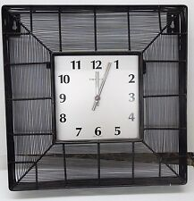 """CONTEMPORARY BLACK GRID IRON 16 """" SQUARE WALL CLOCK MADE BY THE HERMLE CLOCK CO"""