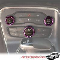 3x Aluminum Air Conditioner Switch CD Button Knob Trim for Dodge Challenger 15+