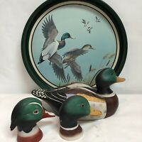 Mallards Ducks Stunning Lot Of 4: 1 Tray + Decoy Ceramic +Salt/Pepper Shake