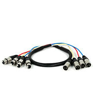 3ft 4 Channel 3 Pin XLR Snake Cable Male to Female Extension Audio Cord M/F