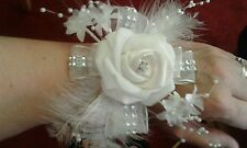 SILVER & WHITE WRIST CORSAGE ***CRUISE PROM WEDDING**