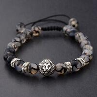 Men's Black Lava Stone Silver Lion Beaded  Bracelet Cheapest Macrame Bracelets