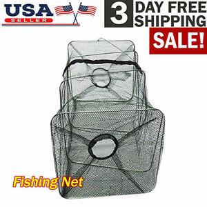 Fishing Bait Trap Crab Net Crawdad Shrimp Cast Dip Cage Fish Minnow Foldable US