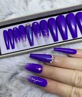 Pukka Purple Beauty Glitter Ombre False Fake Extra Long Ballerina Nails Set