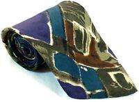 "Tessio Mens Tie Necktie 100% Silk 57"" 4"" Italy Abstract Mossy Fern Army Green"