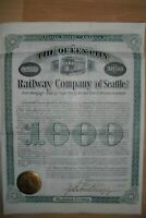 RAR: Queen City Railway Company of Seattle  1889  1000$ Gold Bond  uncancelled