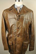 1970's Grais Solid Brown 100% Leather Four Button Basic Jacket Men's Size: 46