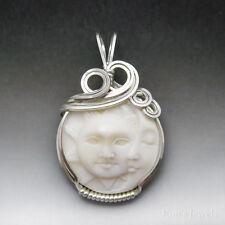 Sun & Moon Face Bone (bovine) Cameo Sterling Silver Wire Wrapped Pendant