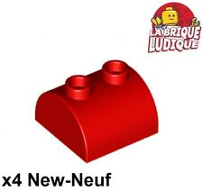 Lego - 4x Brique Brick Modified 2x2 Curved Top 2 Studs rouge/red 30165 NEUF