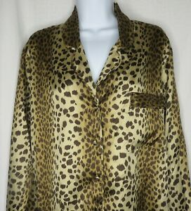 Victoria Secret Afterhours Animal Print Pajama Sleep Shirt Button Up Top Size XS