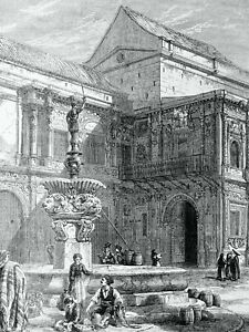 1871 Original Print SPAIN SEVILLE - OLD FOUNTAIN by T. Macquoid