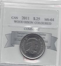 **2011 Colour Wood Bison**Coin Mart Graded Canadian, 25 Cent, **MS-64**