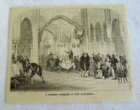 small 1882 magazine engraving ~ MODERN BANQUET IN THE ALHAMBRA Spain